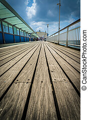 Bournemouth Pier Decking - A low angle shot of the pier at...