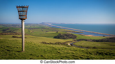 Beacon on a hill overlooking Abbotsbury Priory - Chesil...