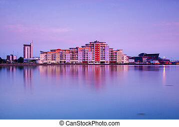 Poole skyline at sunset - The skyline near Holes Bay in...
