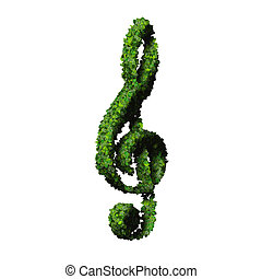 Musical note clef made from leaves - Beautiful graphics made...