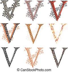 Various fishnet letter V - Set of variations fishnet lace...
