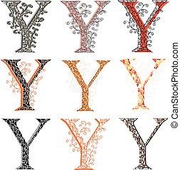 Various fishnet letter Y - Set of variations fishnet lace...