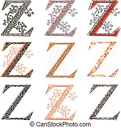 Various fishnet letter Z - Set of variations fishnet lace...