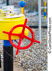 The red crane and gas pipe