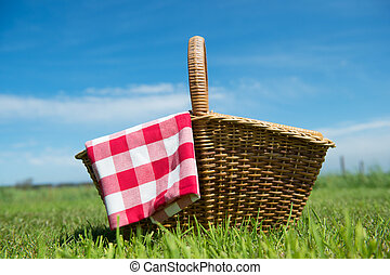 Picnic basket in nature - Picnic basket in grass outdoor