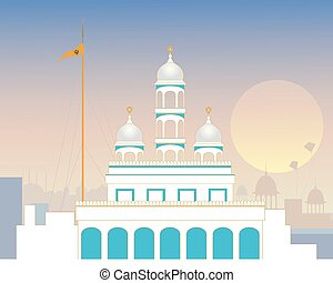 urban gurdwara - a vector illustration of a stylized urban...