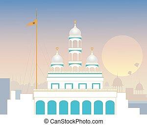 urban gurdwara - a vector illustration of a stylized urban...