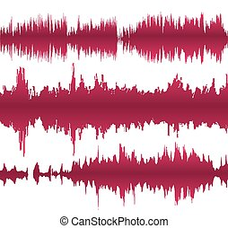 Colorful waveform - Set of colorful waveforms, vintage...