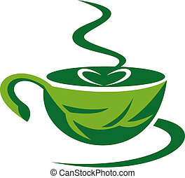 steaming coffee cup made out of a green leaf with heart -...
