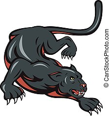 Black Panther Crouching Cartoon - Cartoon style illustration...