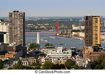 Rotterdam and river Maas - Buildings of Rotterdam and the...