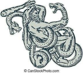 Hercules Fighting Hydra Club - Etching engraving handmade...