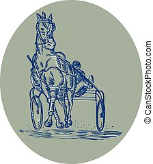 Horse and Jockey Harness Racing Etching