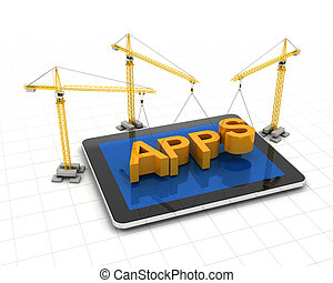 Making apps concept, with cranes and tablet, 3d render,...