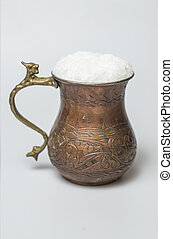 Turkish traditional drink ayran in copper cup - Turkish...