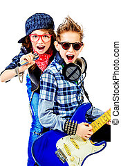 young artists - Modern teenagers playing electric guitar and...