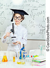 student in lab - Student girl doing research in the...