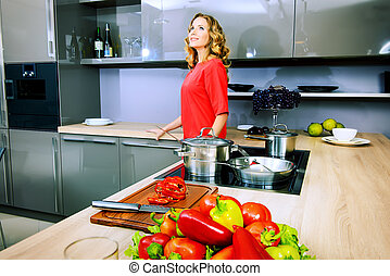 dream kitchen - Beautiful woman housewife prepares healthy...