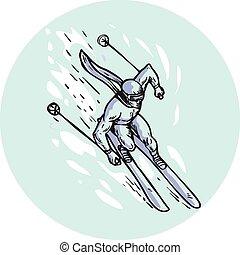 Skiing Slalom Circle Etching - Etching engraving handmade...