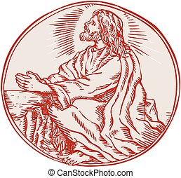 Jesus Christ Agony in the Garden Etching - Etching engraving...