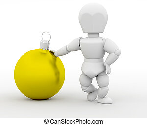 Man leaning on Christmas Bauble - 3D render of a man leaning...