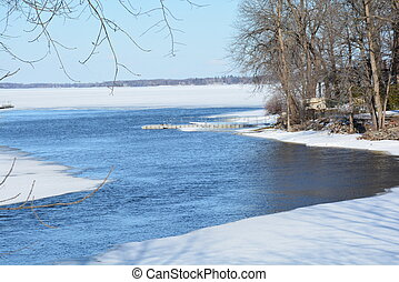 Sprling Thaw - Ice melts freeing river water