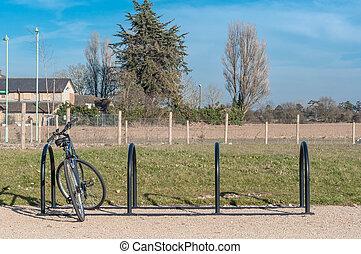 Bike rack in a park