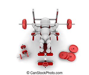 Lifting weights - 3D render of someone lifting weights