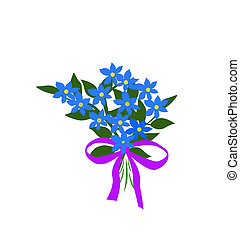 blue flower bouquet - blue forget-me-not flower bouquet and...