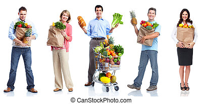 People with vegetables and fruits. - People with vegetables...