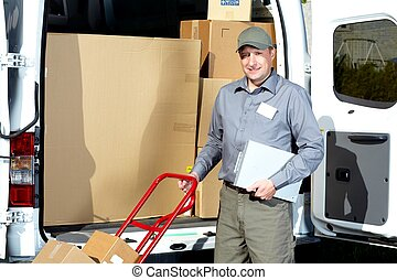 Postman with parcel box. Postal delivery service.