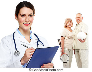Medical family doctor and patients Isolated white background...