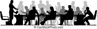Busy meeting - Editable vector foreground silhouette of...