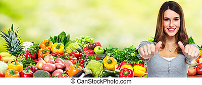 Woman with fruits and vegetables. - Happy healthy Woman...
