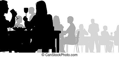 Diner - Editable vector silhouette of people eating in a...
