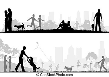 In the park - Two editable vector designs of city parks with...