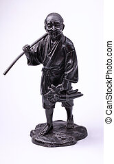 Chinese metal old man peasant statue on white background