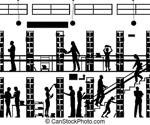 Public library - Editable vector silhouette of people in a...