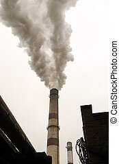 power station with smoke stack - Energy power station with...