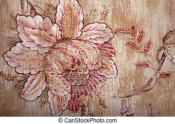 Vintage shabby chic brown wallpaper with floral victorian...