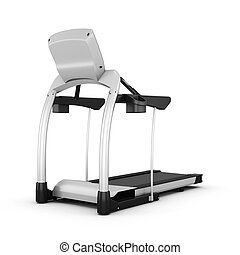 Trainer treadmill isolated on white background. 3d render...