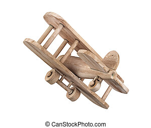 Wooden plane toy isolate on white background. 3d...
