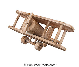Wooden plane isolated on white background 3d illustration