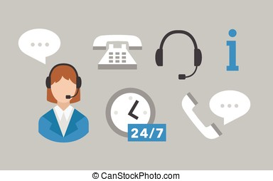Call center icons vector set on grey
