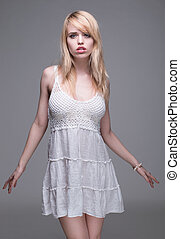 Young Blond Woman Wearing White Sun Dress - Sexy Young Blond...