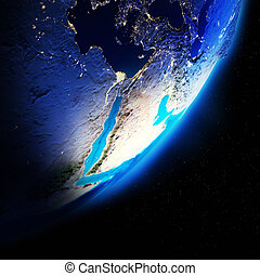 Earth continents. Elements of this image furnished by NASA
