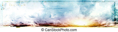Colorful sky and sunrise. Canvas vintage background