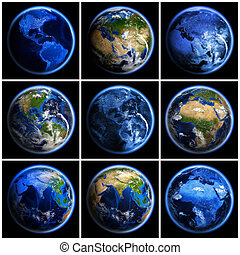 Earth globe set Elements of this image furnished by NASA