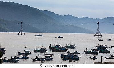 Fishing boats in marina at Vietnam - Fishing boats in marina...