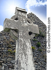 old kerry celtic cross - old celtic cross head stone from a...